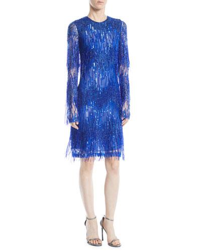 a275e8a1322 Jewel-Neck Long-Sleeve Beaded-Fringe Cocktail Dress