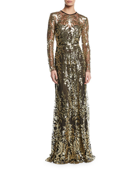 Naeem Khan Metallic Lace Long-Sleeve Gown