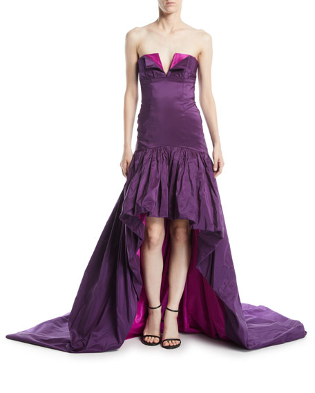 High-Low Strapless Evening Gown w/ Train