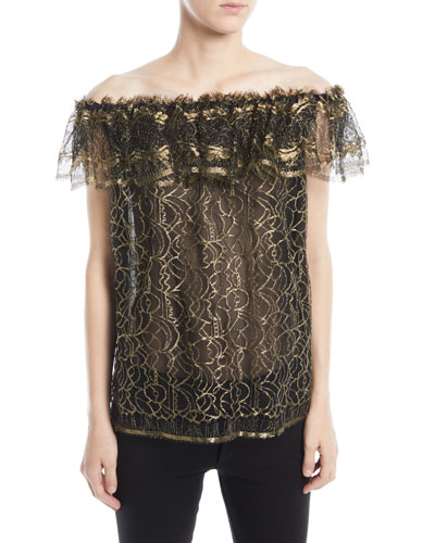 Off-the-Shoulder Ruffled Metallic Evening Blouse