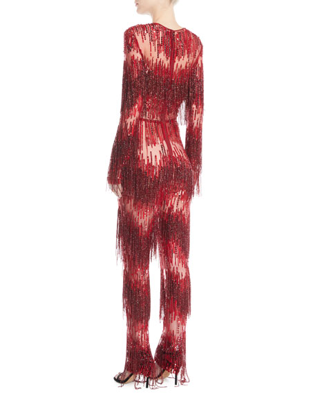 Jewel-Neck Long-Sleeve Beaded-Fringe Straight-Leg Jumpsuit