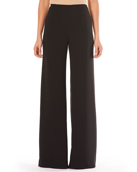 High-Waist Wide-Leg Pocketless Side-Zip Crepe Pants