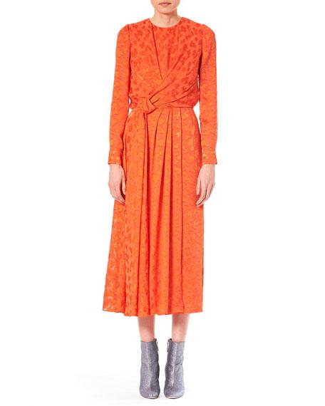 Long-Sleeve Burnout Knot-Detail Midi Cocktail Dress