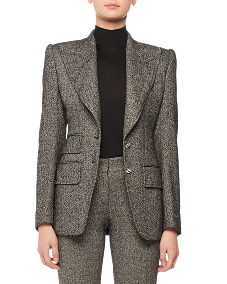 Peak-Lapel Two Crystal Button Fitted Tweed Jacket