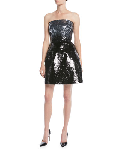 Strapless Fit-and-Flare Ombre Sequin Cocktail Mini Dress
