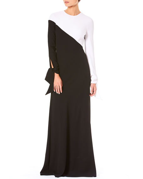 Tie-Cuff Long-Sleeve Contrast Bias A-Line Evening Gown