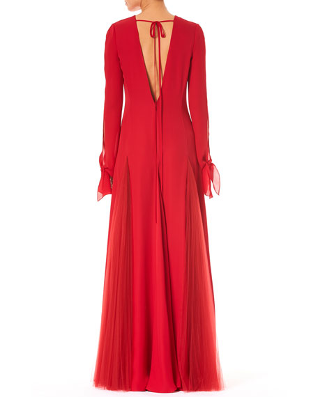 Jewel-Neck V-Back Long-Sleeve A-Line Silk Evening Gown