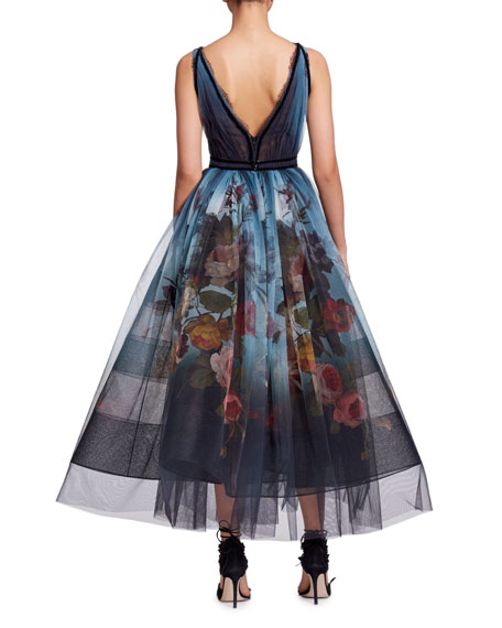 V-Neck Sleeveless Floral-Print Ombré Tulle Evening Gown