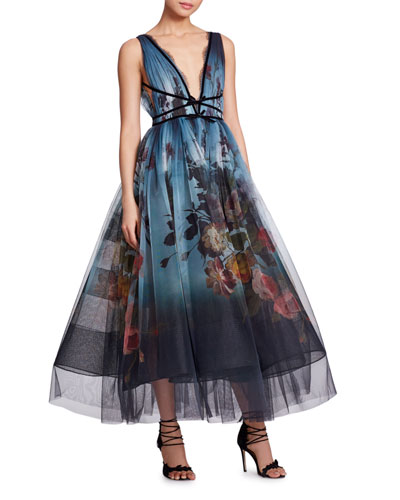 V-Neck Sleeveless Floral-Print Ombre Tulle Evening Gown
