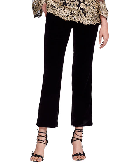 Cropped Tailored Velvet Suiting Pants