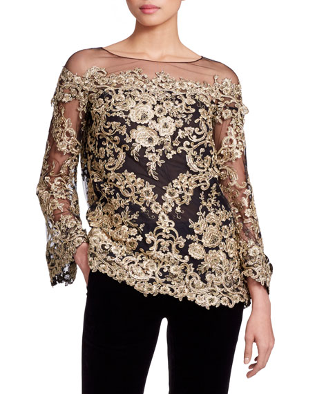 Long-Sleeve Metallic Corded-Lace Evening Blouse