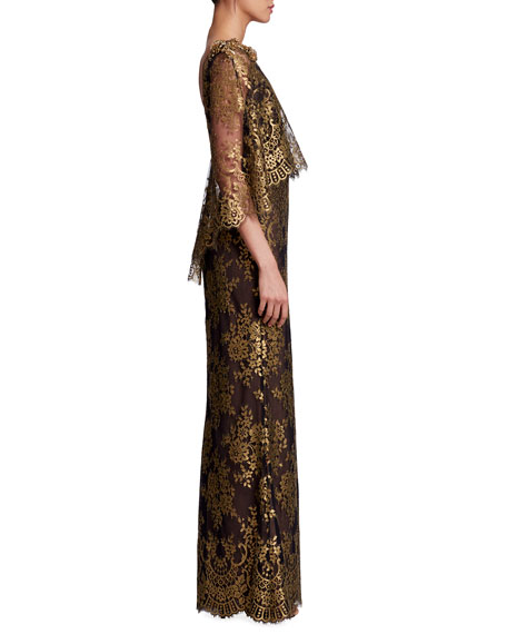 Bateau-Neck 3/4-Sleeve Metallic Chantilly Lace Evening Gown