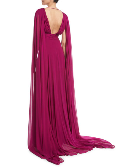 V-Neck Shoulder-Streamers Draped Silk Chiffon Evening Gown