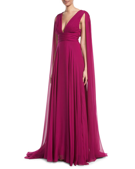 MONIQUE LHUILLIER V-Neck Shoulder-Streamers Draped Silk Chiffon Evening Gown in Pink