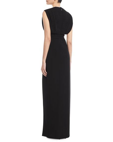 Deep-V Sleeveless High-Slit Crepe Column Evening Gown