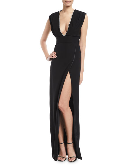 MONIQUE LHUILLIER Deep-V Sleeveless High-Slit Crepe Column Evening Gown in Noir