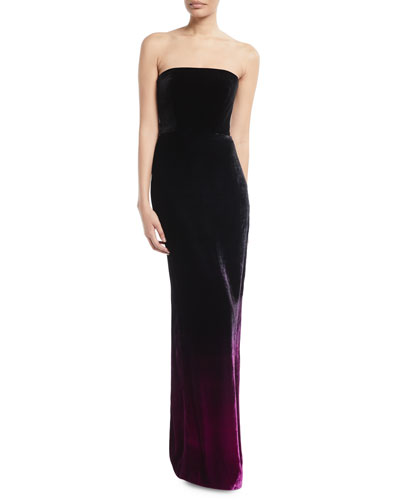 Strapless Ombre Velvet Column Evening Gown