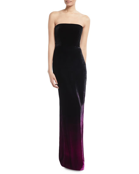 MONIQUE LHUILLIER STRAPLESS OMBRE VELVET COLUMN EVENING GOWN