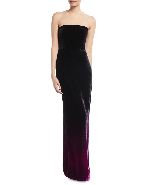 Monique Lhuillier Strapless Ombre Velvet Column Evening Gown ...