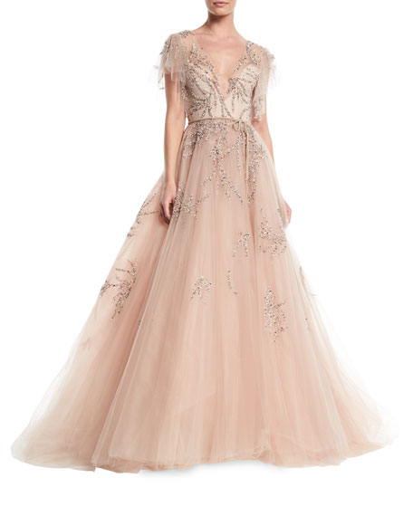 Plunging Cap-Sleeve Embellished Tulle Evening Ball Gown