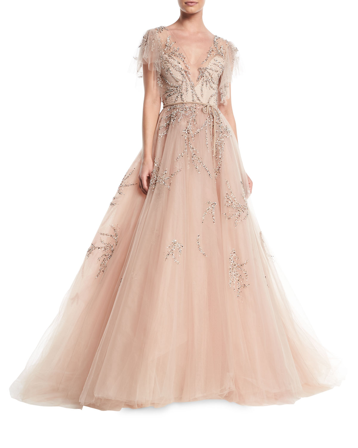 ed494102840e Monique Lhuillier Plunging Cap-Sleeve Embellished Tulle Evening Ball ...