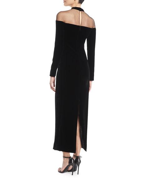 Illusion Mock-Neck Long-Sleeve Velvet Column Evening Gown