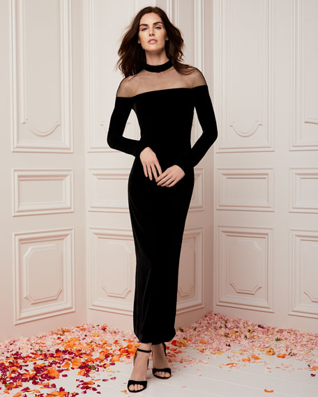 Illusion Mock-Neck Long-Sleeve Velvet Column Evening Gown