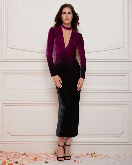 Deep-V Long-Sleeve Ombre Velvet Cocktail Dress