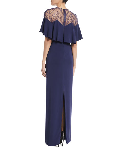 Capelet Sleeve Lace-Inset Column Evening Gown