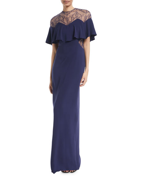 MONIQUE LHUILLIER CAPELET SLEEVE LACE-INSET COLUMN EVENING GOWN