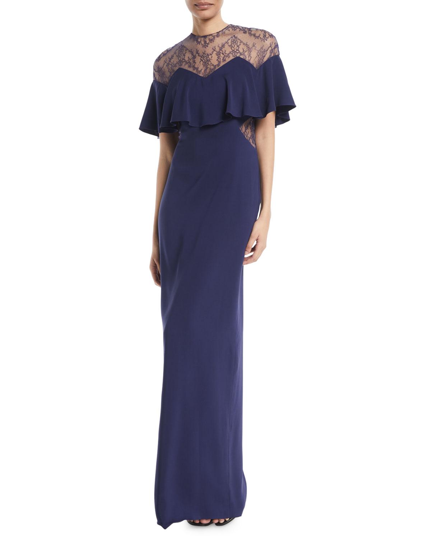 Monique Lhuillier Capelet Sleeve Lace-Inset Column Evening Gown ...