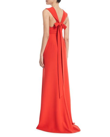 Deep-V Sleeveless Bow-Detail Trumpet Evening Gown