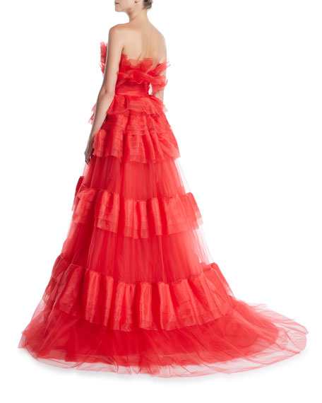 Strapless Tiered Organza Ball Gown
