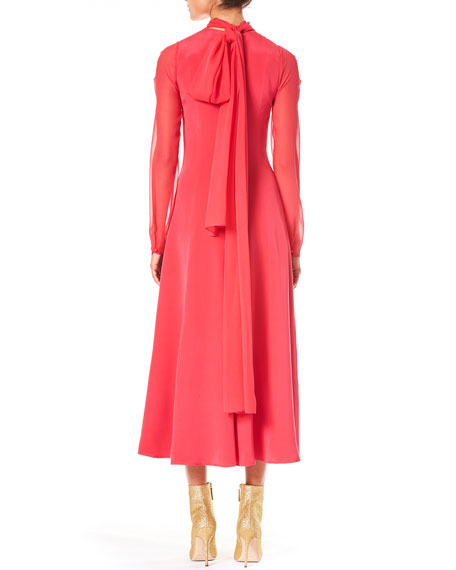High-Neck Long-Sleeve A-Line Silk Day Dress