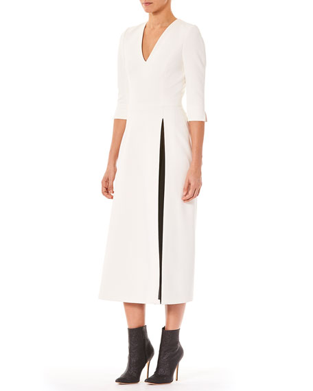 V-Neck 3/4-Sleeve A-Line Midi Day Dress w/ Contrast Slit Detail