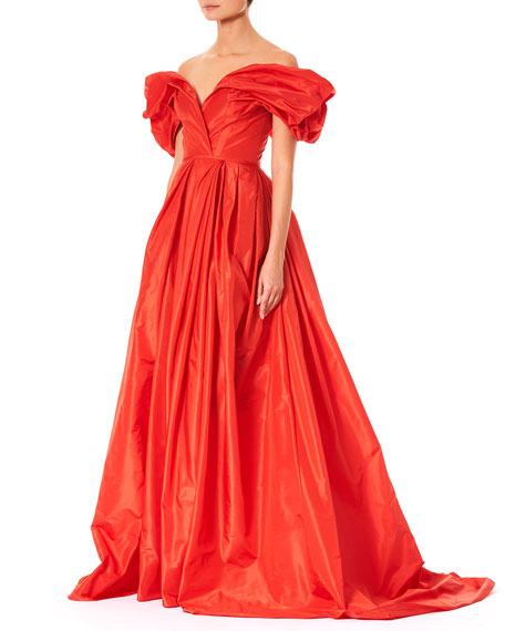 Off-the-Shoulder Ruched-Sleeve Full Evening Gown