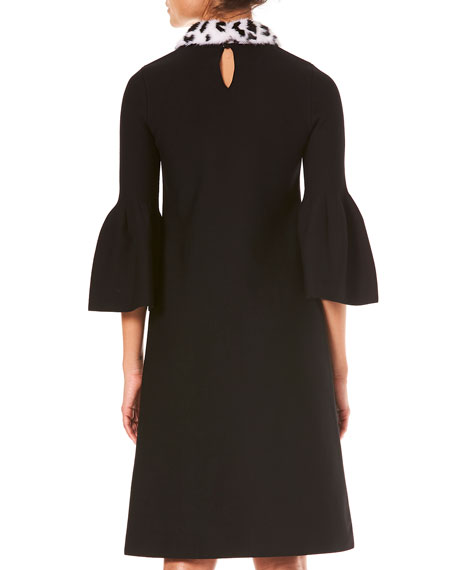 Bell-Sleeve A-Line Stretch-Wool Knit Dress w/ Fur Collar