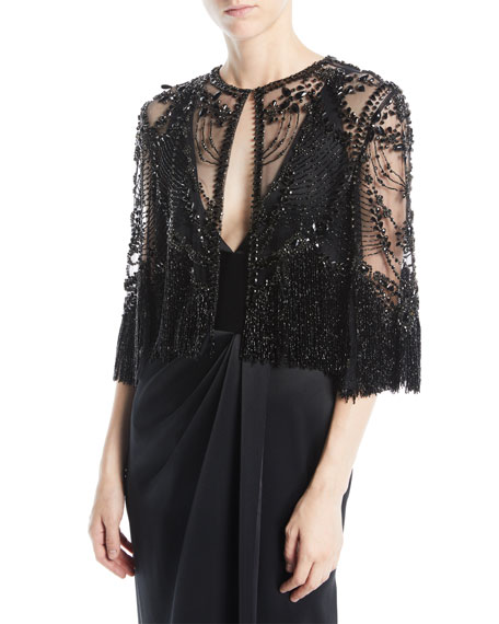 Beaded Cropped Evening Jacket w/ Fringe Hem