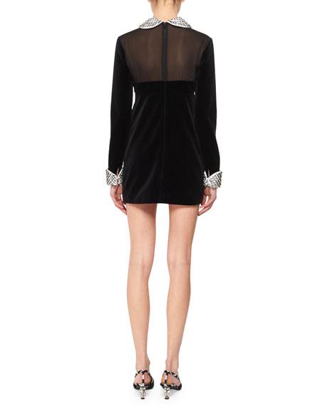 Illusion-Bodice Long-Sleeve Velvet Mini Dress w/ Beaded Combo