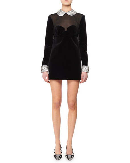 Illusion-Bodice Long-Sleeve Velvet Mini Dress w/ Beaded Combo