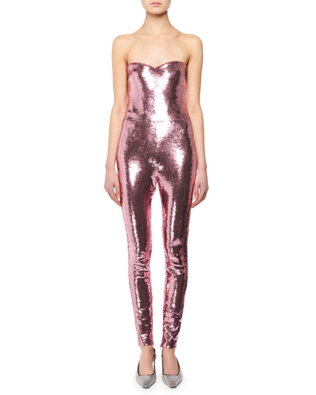 Strapless Fitted Sequin Leather Jumpsuit