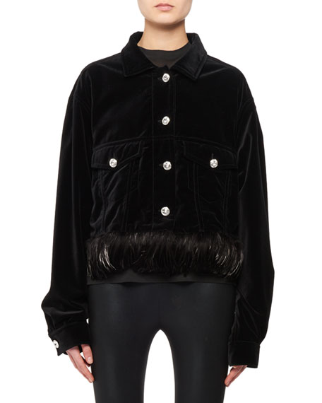 Jean-Style Velvet Jacket w/ Detachable Feather Trim & Crystal Buttons