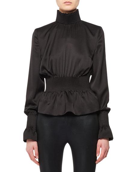Smocked Turtleneck Long-Sleeve Silk Top (Reverses into Jacket)