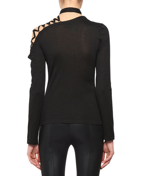 Eyelet-Shoulder Long-Sleeve Cashmere-Silk Knit Top