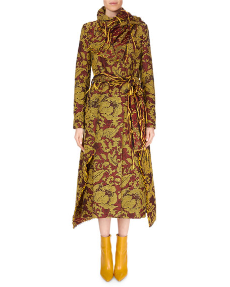 Fairbanks High Wrap-Neck Floral Tapestry-Jacquard Calf-Length Coat w/ Fringe