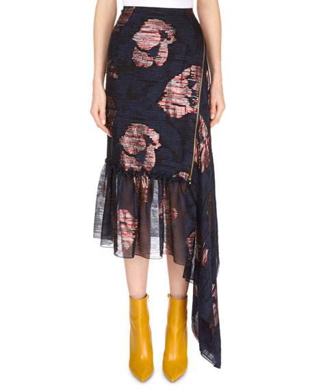 Dillon Asymmetric Side-Drape Striped Metallic Fil Coupe Floral-Print Skirt