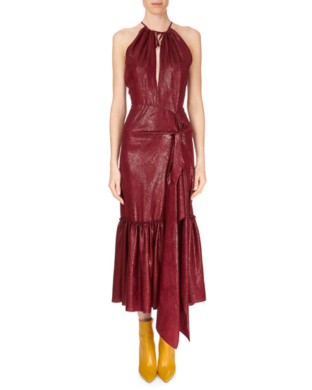 Miranda Tie-Front Ankle-Length Halter Dress W/ Flounce Hem, Wine