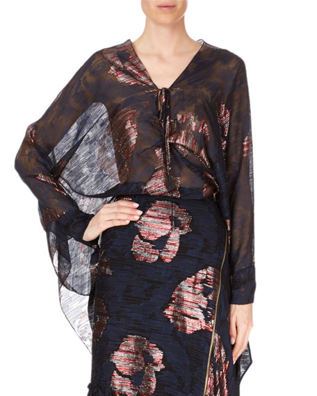 Becker Long-Sleeve Striped Metallic Fil Coupe Poncho Top