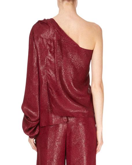 One-Sleeve Metallic Draped Blouse