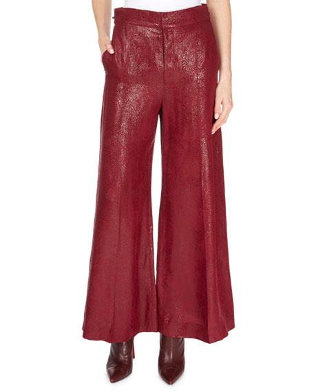 Costello Metallic Full-Leg Cropped Pants